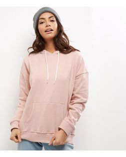 Shell Pink Oversized Slouch Hoodie  | New Look