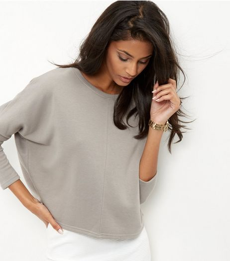 Grey Batwing Sleeve Cropped Sweater  | New Look