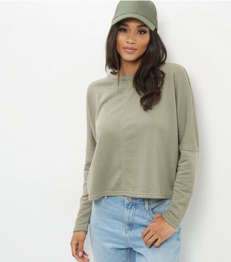 Khaki Batwing Sleeve Cropped Sweater  | New Look