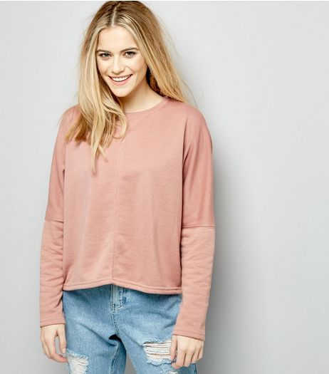 Pink Batwing Sleeve Cropped Sweater  | New Look