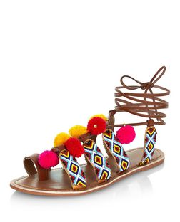 Wide Fit Tan Leather Beaded Pom Pom Ghillie Sandals  | New Look