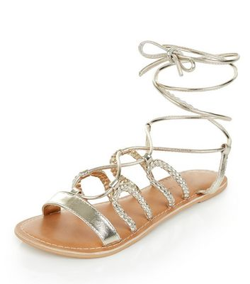 Sandalo  donna Wide Fit Gold Leather Plaited Ghillie Sandals