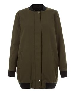 Khaki Borg Lined Longline Bomber Jacket | New Look