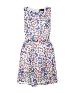 Mela White Butterfly Print Skater Dress | New Look