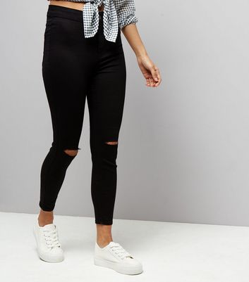 Petite Black Ripped Knee High Waist Super Skinny Jeans