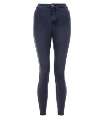 Petite Dark Blue High Waist Super Skinny Jeans