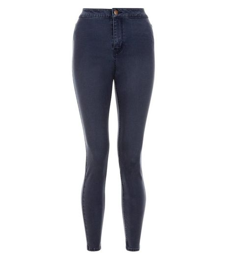 Petite Dark Blue High Waist Super Skinny Jeans | New Look