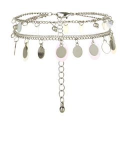 Silver Sequin Coin Anklet  | New Look