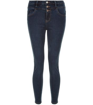 Petite Blue High Waisted Skinny Jeans