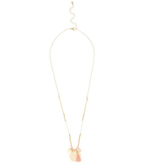 Pink Filigree Disc Tassel Necklace | New Look