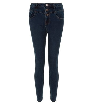 Petite Navy High Waisted Super Skinny Jeans