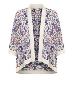 Mela White Butterfly Print Contrast Trim Kimono | New Look