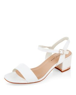 Wide Fit White Suede Metal Trim Mid Block Heel Sandals  | New Look