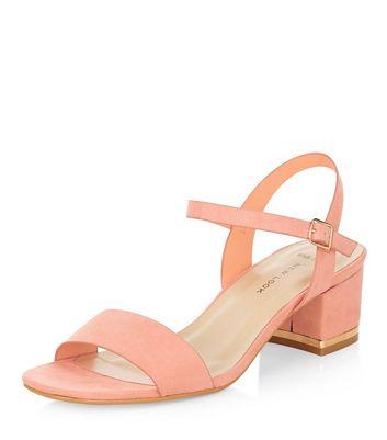 Sandalo  donna Wide Fit Coral Suede Metal Trim Mid Block Heel Sandals