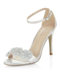 Silver Floral Embellished Heeled Sandals  | New Look