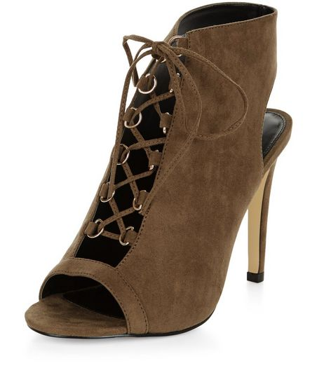 Wide Fit Khaki Suedette Ghillie Heels | New Look