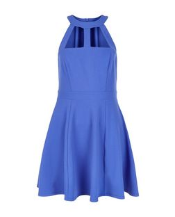 Blue Cut Out High Neck Skater Dress  | New Look