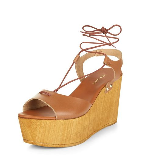 Tan Premium Leather Contrast Plaform Wedge Sandals  | New Look