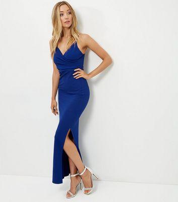 Product photo of Blue wrap front split side maxi dress