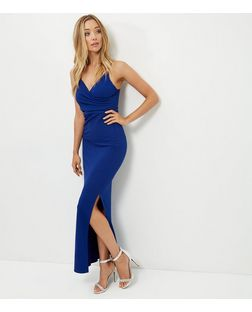 Blue Wrap Front Split Side Maxi Dress  | New Look