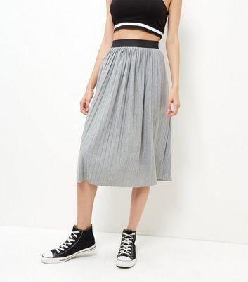 Gonna  donna Grey Pleated Midi Skirt