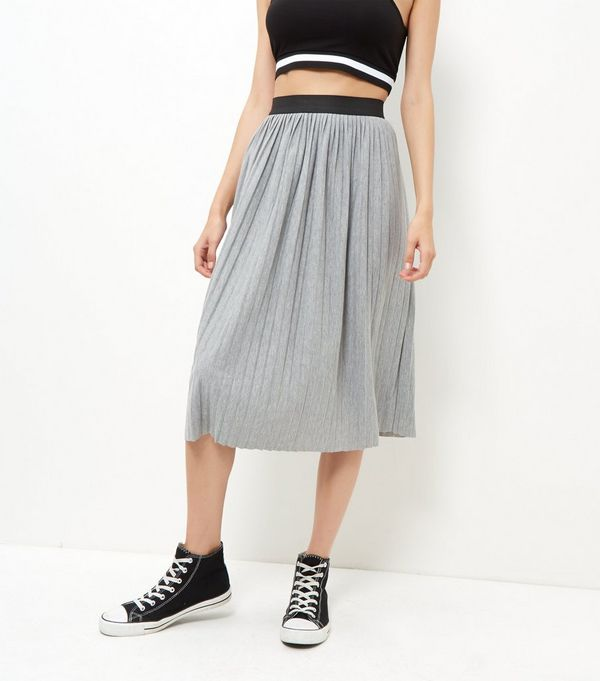 Grey Pleated Midi Skirt