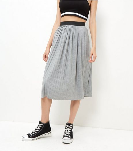 Grey Pleated Midi Skirt  | New Look
