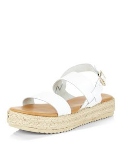 White Leather Chunky Espadrille Sandals  | New Look