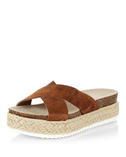 Tan Suede Cross Strap Espadrille Sandals  | New Look