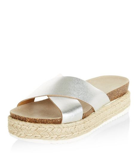 Silver Leather Cross Strap Espadrille Sandals  | New Look