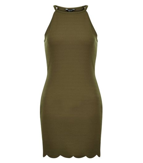 Teens Khaki High Neck Scallop Hem Dress | New Look