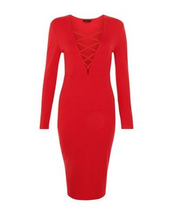 Red Lace Up Long Sleeve Bodycon Midi Dress  | New Look