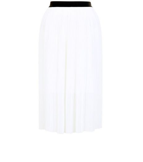 White Elasticated Waist Pleated Midi Skirt  | New Look