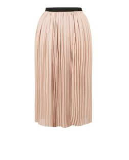 Shell Pink Elasticated Waist Pleated Midi Skirt  | New Look