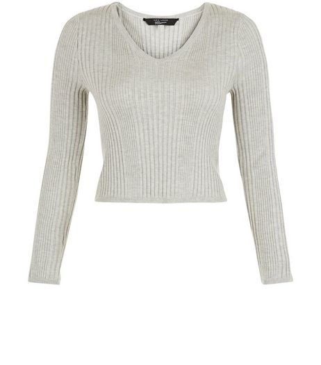 Teens Grey V-neck Ribbed Jumper | New Look