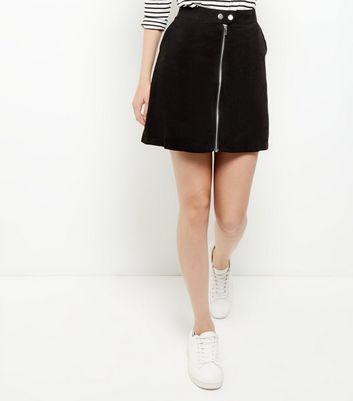 Gonna  donna Black Suedette Zip Front Mini Skirt