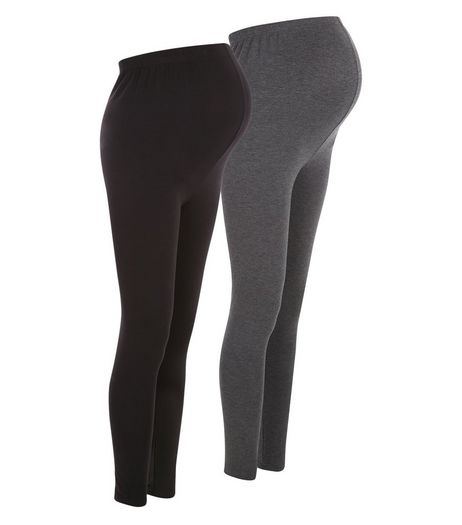 Maternity 2 Pack Grey and Black Leggings | New Look