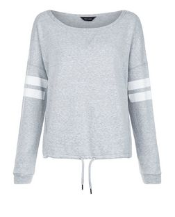 Grey Stripe Sleeve Drawstring Sweater | New Look