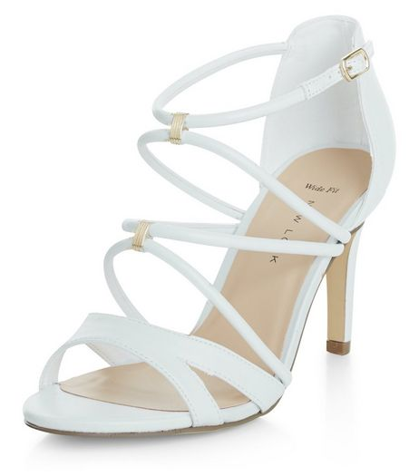 Wide Fit White Cross Strap Metal Trim Heels  | New Look