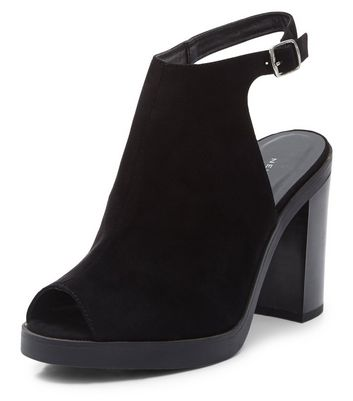 Sandalo  donna Black Suedette Peep Toe Sling Back Block Heels