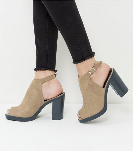 Khaki Suedette Peep Toe Block Heels | New Look