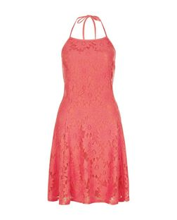 Bright Pink Daisy Lace Halter Neck Skater Dress  | New Look