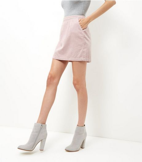 Pink Cord A-Line Skirt  | New Look