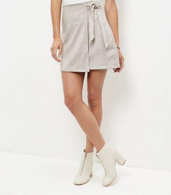Mink Suedette Tie Wrap Front Mini Skirt