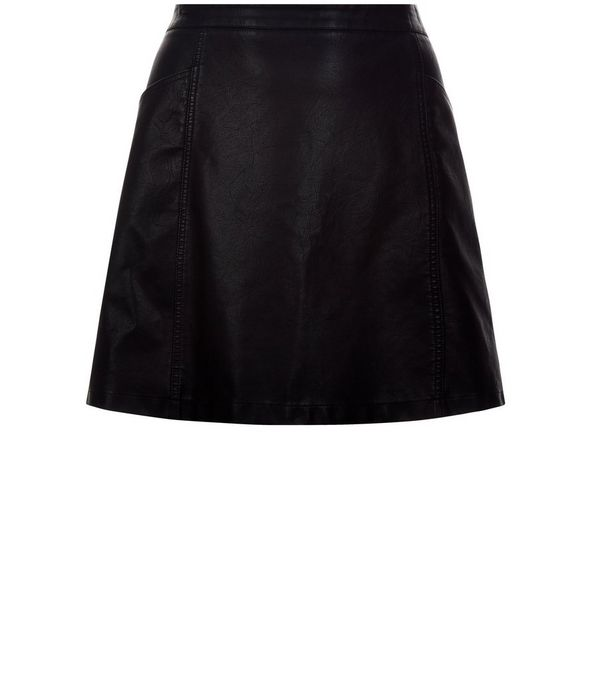 Curves Black Leather-Look A-Line Skirt