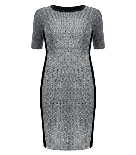 Curves Grey Contrast Trim Ribbed Bodycon Dress | New Look