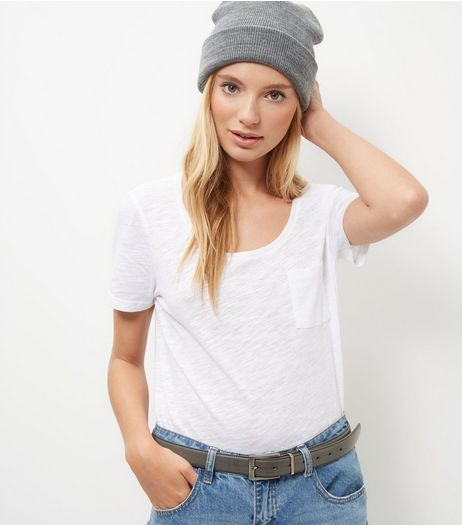 White Single Pocket Slub T-Shirt  | New Look