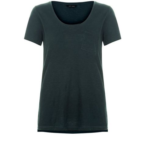 Dark Green Single Pocket Slub T-Shirt  | New Look