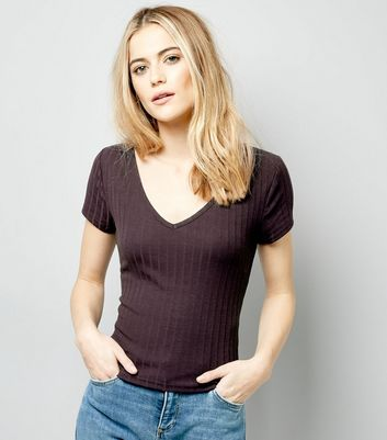 Navy V Neck Cap Sleeve T-Shirt