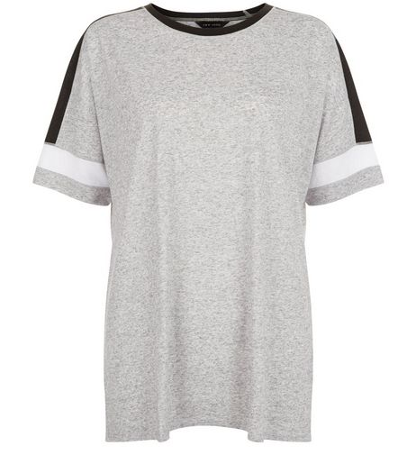 Grey Colour Block Baseball T-Shirt  | New Look
